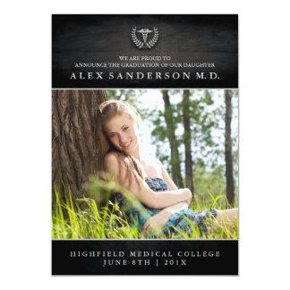 Medizinische SchulAbschluss-Einladung mit Foto 12,7 X 17,8 Cm Einladungskarte