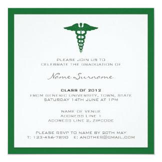 Medizinische SchulAbschluss-Einladung - Quadratische 13,3 Cm Einladungskarte