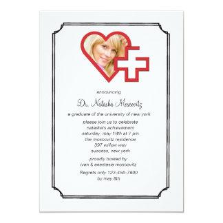 Medizinische SchulAbschluss-Foto-Einladung 12,7 X 17,8 Cm Einladungskarte