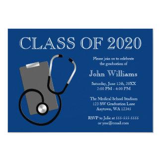 Medizinischer Krankenpflege-Schulblau-Abschluss 12,7 X 17,8 Cm Einladungskarte