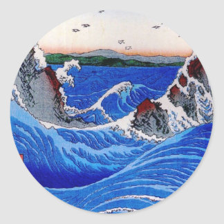 Meer, Hiroshige 歌川広重 Runder Aufkleber