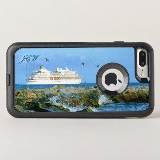 Meerblick mit dem Kreuzfahrt-Schiff mit Monogramm
