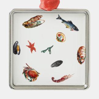 Meeresfrüchte Silbernes Ornament