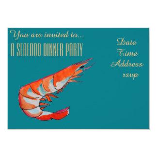 Meeresfrüchtegarnelegarnele 12,7 X 17,8 Cm Einladungskarte
