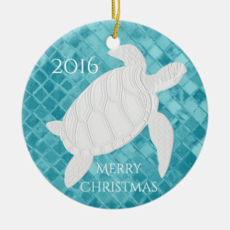 Meeresschildkröte-Aqua-Seeglas personifizieren Rundes Keramik Ornament
