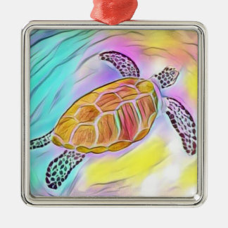 Meeresschildkröte-Aquarell-Verzierung 2 Quadratisches Silberfarbenes Ornament