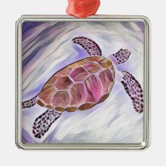 Meeresschildkröte-Aquarell-Verzierung 3 Quadratisches Silberfarbenes Ornament