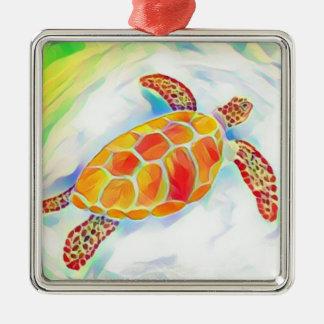 Meeresschildkröte-Aquarell-Verzierung 4 Quadratisches Silberfarbenes Ornament