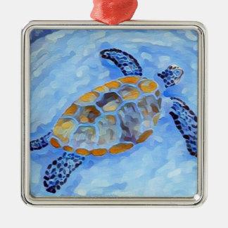 Meeresschildkröte-Aquarell-Verzierung Quadratisches Silberfarbenes Ornament
