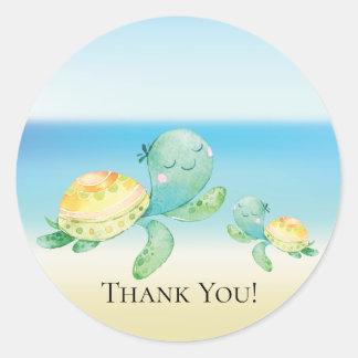Meeresschildkröte-Babyparty danken Ihnen, Runder Aufkleber