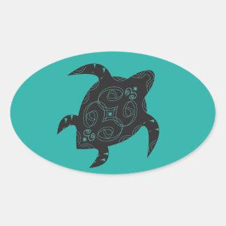 Meeresschildkröte-Bauch Ovaler Aufkleber