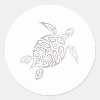 Meeresschildkröte-beige weißes tierischesstammes- runder aufkleber