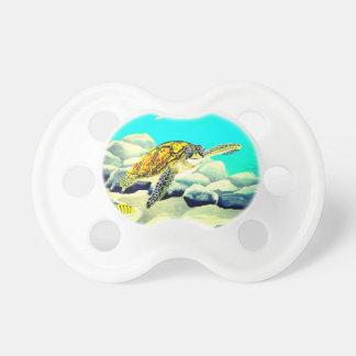 Meeresschildkröte, die schönes blaues Meer malt Schnuller