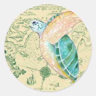 Meeresschildkröte-Karte Runder Aufkleber