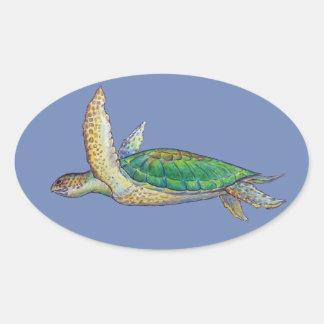 Meeresschildkröte Ovaler Aufkleber