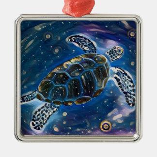 Meeresschildkröte-Universum-Aquarell-Verzierung Quadratisches Silberfarbenes Ornament