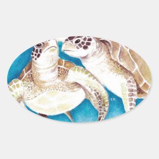 Meeresschildkröten Ovaler Aufkleber
