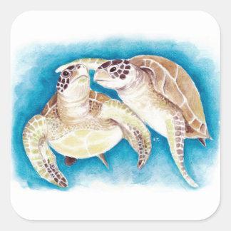 Meeresschildkröten Quadratischer Aufkleber