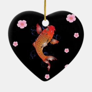 Meereswelt Koi Fische Keramik Herz-Ornament