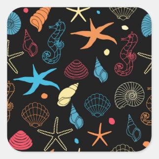 Meergeschöpfe Quadratischer Aufkleber