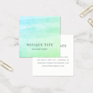Meergrün-Aquarell Quadratische Visitenkarte