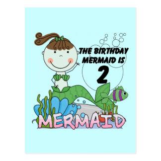 Meerjungfrau-2. Geburtstags-T-Shirts und Geschenke Postkarte