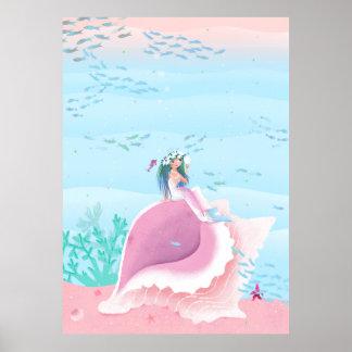Meerjungfrau auf einem Muschelpastellfarbplakat Poster
