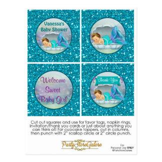 Meerjungfrau-Babyparty-Kuchen-Deckel-Bevorzugung Postkarte