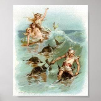 Meerjungfrau-Beifall-Delphin-Rettung, Poster