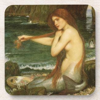 Meerjungfrau durch JW Waterhouse, viktorianische Getränkeuntersetzer
