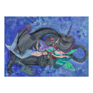 Meerjungfrau-Einhorn-Drache-Elf-feenhafte Poster