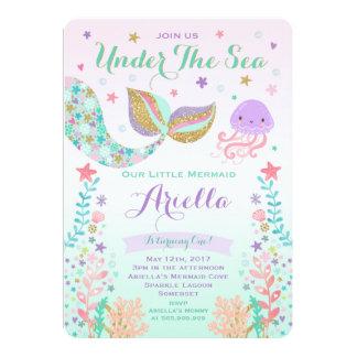 Meerjungfrau-Geburtstags-Einladung unter dem Karte