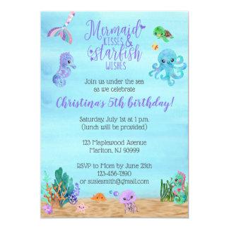 Meerjungfrau-Geburtstags-Einladungen für Mädchen Karte