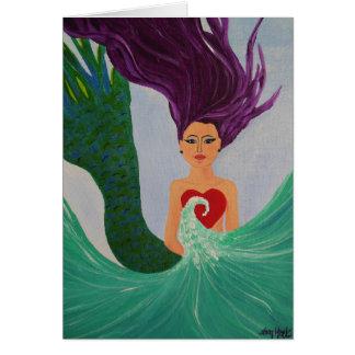 Meerjungfrau-Herz Grußkarte