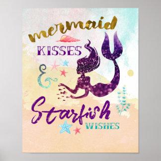 Meerjungfrau küsst Starfish-Wünsche Poster
