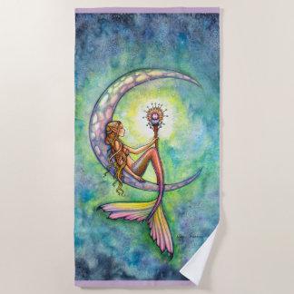 Meerjungfrau-Mond-Fantasie-Kunst-Badetuch Strandtuch