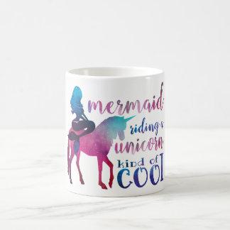 Meerjungfrau-Reitunicorn-buntes cooles Zitat Kaffeetasse