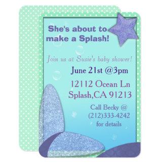 Meerjungfrau-Schwanz-Babyduscheneinladung Karte