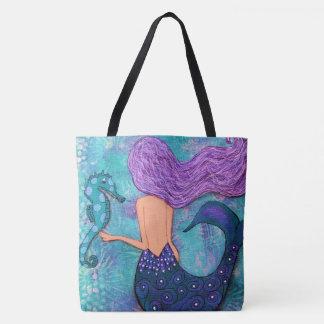 Meerjungfrau-Seepferd-Taschen-Tasche lila und Tasche