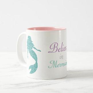 Meerjungfrau-Tasse, unter dem Seedekor Zweifarbige Tasse