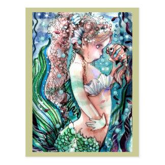 Meerjungfrau-u. Clown-Fisch-Postkarte Postkarte