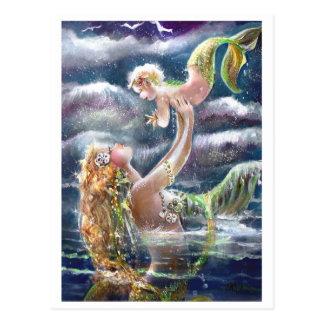 Meerjungfrau-u. Kinderpostkarte Postkarte
