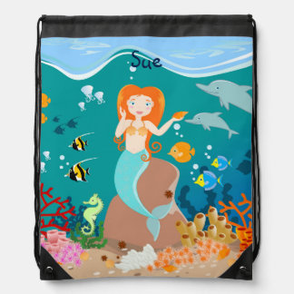 Meerjungfrau und Delphingeburtstags-Party Turnbeutel
