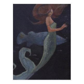 Meerjungfrau und die blauen Fische Postkarte