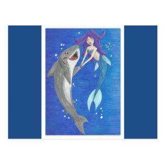 Meerjungfrau-und Haifisch-Freund-Postkarte Postkarte