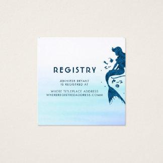 Meerjungfrau-und Ozean-Aquarell-Register Quadratische Visitenkarte