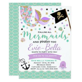 Meerjungfrau-und Piraten-Geburtstags-Einladung Karte