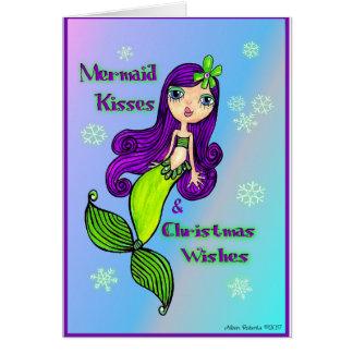 Meerjungfrau-Weihnachtskarte Karte