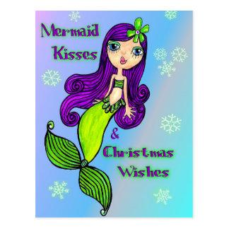 Meerjungfrau-Weihnachtspostkarte Postkarte