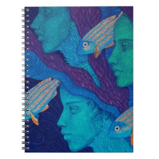 Meerjungfrauen u. Fische, surreale Fantasiekunst, Notizblock